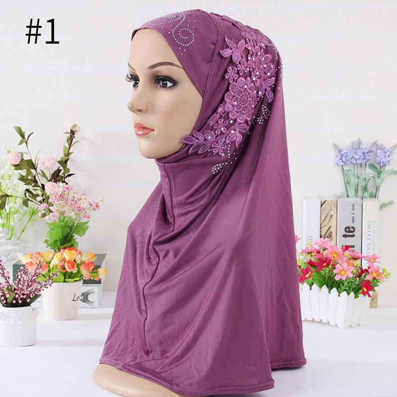 11 Colors luxury scarves shawls islamic muslim women solid scarf flower embroidery rhinestone instant hijab