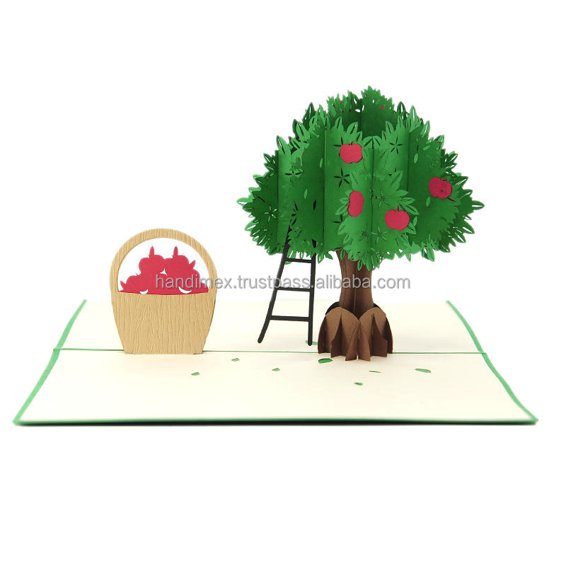 Apple tree pop up cards 3d handmade cards postcard for promotion good quality wholesale (WhatsApp 84903442499)