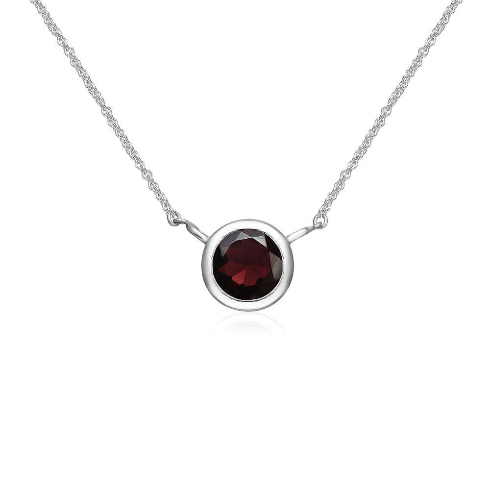 925 Sterling Silver Garnet Gemstone 6mm Round Solitaire Bezel-Set Dainty Choker Necklace