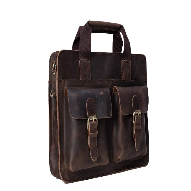 Computer Laptop Bag 15.6 Inch Vintage Waxed Large Satchel Mens Bag
