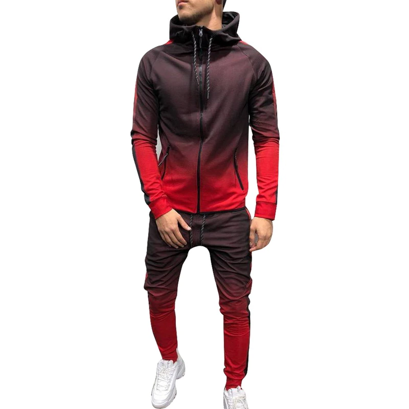 Tracksuit Men Set Sport 2 Pieces Sweatsuit Mens Clothes Printed Hooded Hoodies Jacket & Pants Track Suit Men