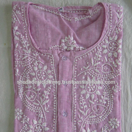 Chikan Embroidery Kurti Tunic Dress for Women from India