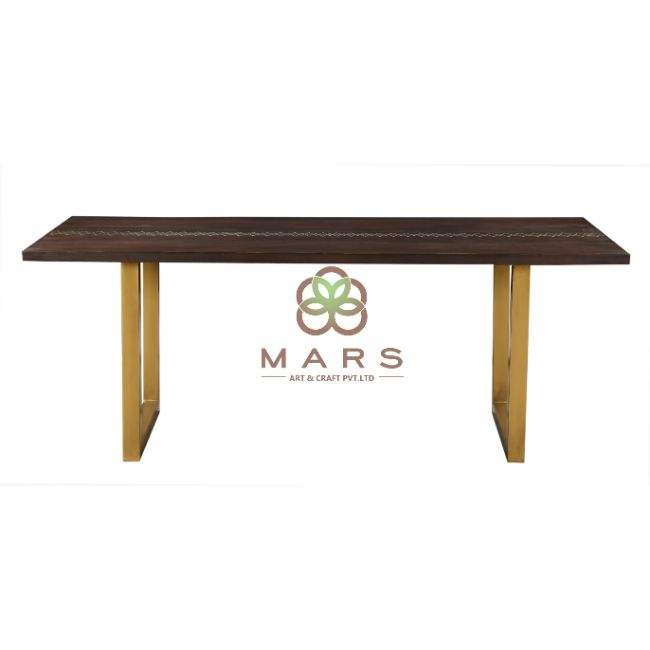 Modern Acacia Wood Live Edge Dining Table With Brass Stitched with Iron Legs Brass Finish