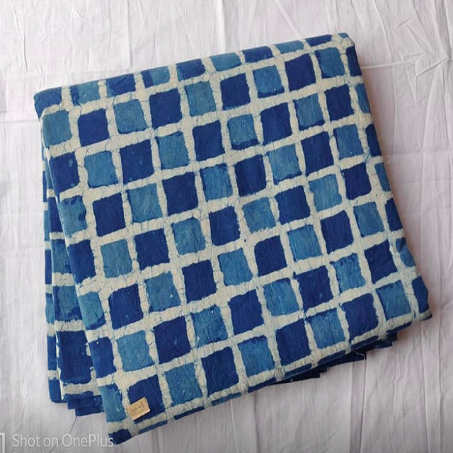 100 % cotton checker gingham printed fabric from India