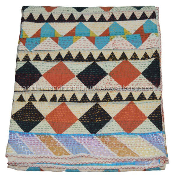 Indian authentic vintage artisan thick blanket throw patchwork kantha quilt