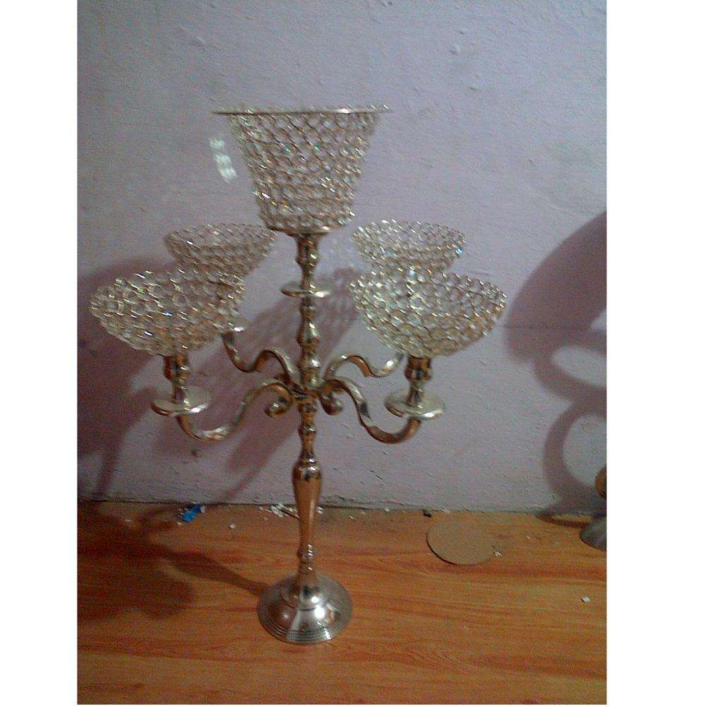 Wedding 5 Light Candelabra with crystal hurricane Votive & Bowls for home hotel spa Church and festival