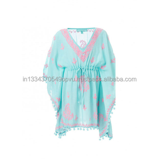 Hot Beachwear New Fashion Gorgeous Aqua Summer Kids Kaftan Embroidered Pom Pom Trim Girl Poncho Cover Up For Little Princess