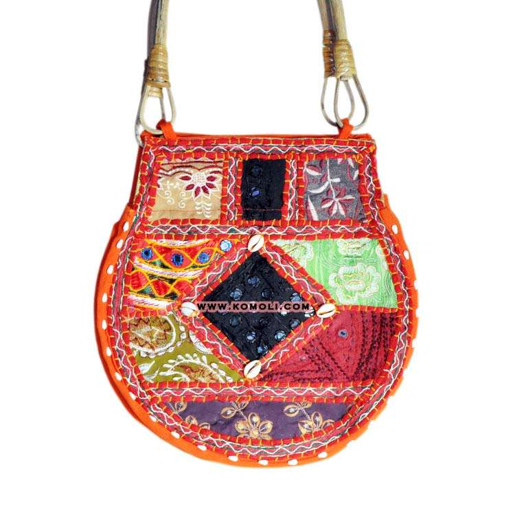 Indian multi-color patchworking carry on bag with cane handle banjara bag