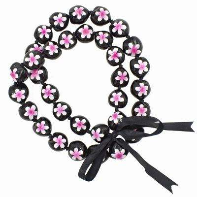 Hawaiian Style Kukui nut Necklace, Hand Painted Pink Flower, 33 Nuts