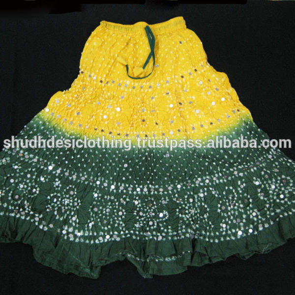 Indian Bandhini Bandhej Skirts - Belly Dance Gypsy Indian Long Skirts