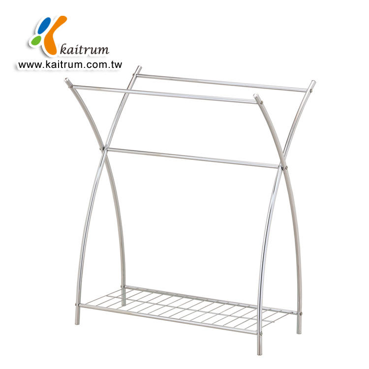 Chrome plated Free standing Bath Floor Towel rack