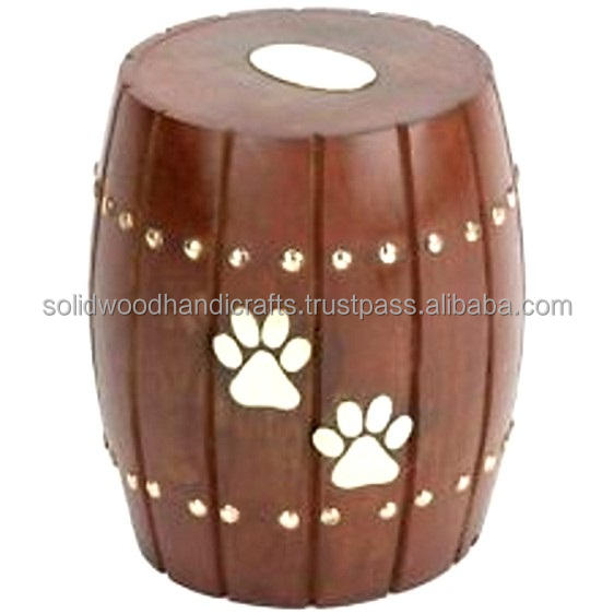 PAW PRINT WOODEN PET URNS FOR ASH/ CREMATION URNS WITH PAW PRINTS /DOG /CAT URNS