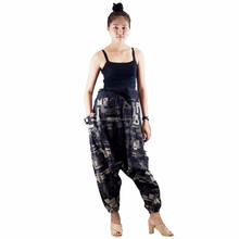 NAPAT Autumn Fashion Unisex Trousers Printed Cotton Drop Crotch Harem Style