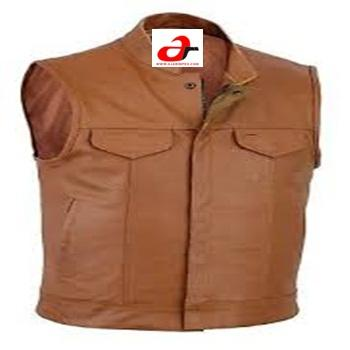 Mens Brown Motorcycle Biker Waistcoat Full Real Leather Vest Jacket