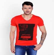 New design cotton V neck short sleeve t shirt for mens.