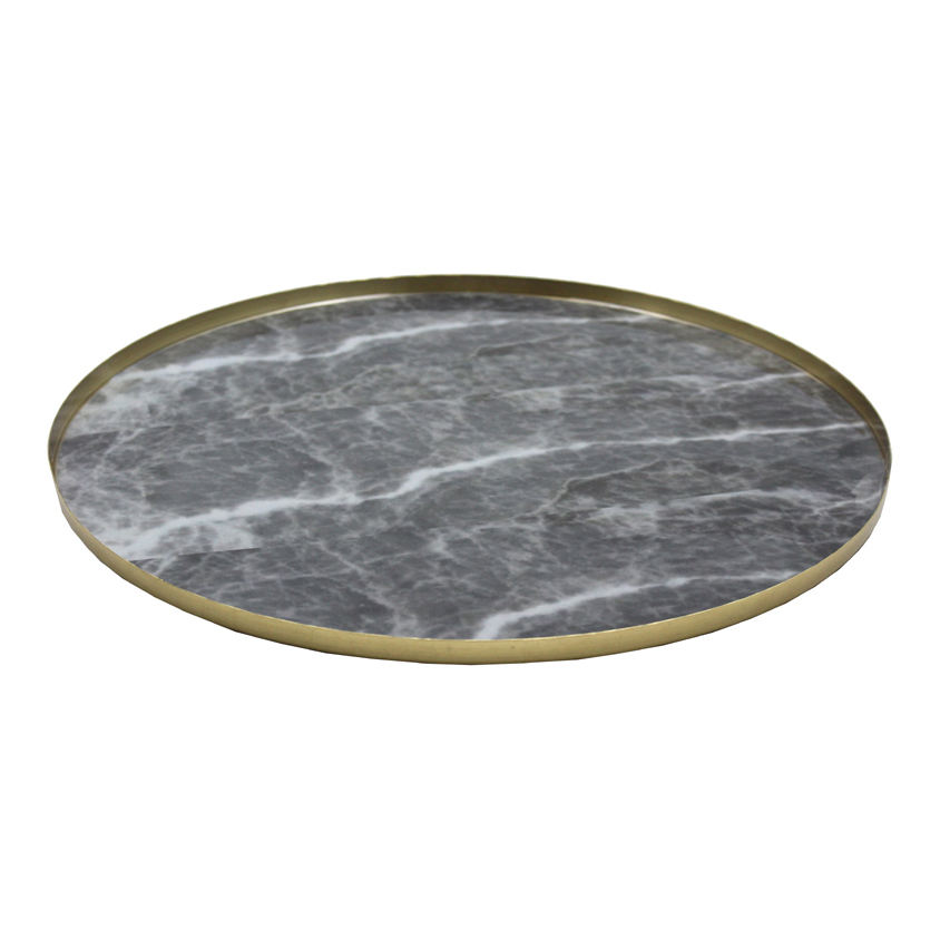 Brass Coating Iron Round Luxury Dining Serving Plates