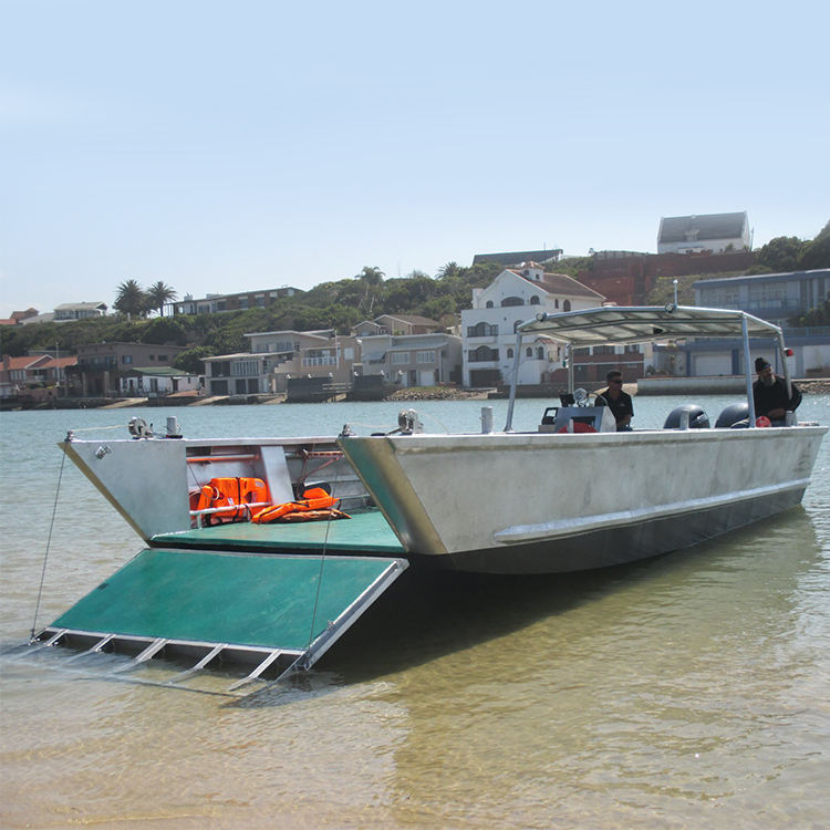 12m aluminum commercial working barge with aluminum inspection hatches