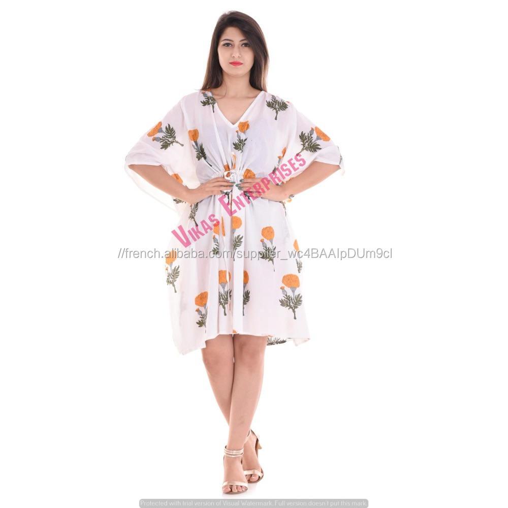 Main <span class=keywords><strong>bloc</strong></span> imprimé sanganeri traditionnel Indien <span class=keywords><strong>soirée</strong></span> nuit robe plage robe katan
