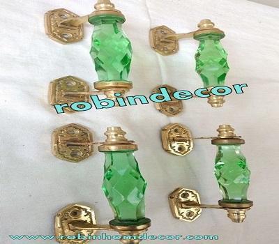 8 pcs Vintage Door Cabinet Glass Knobs Brass Puller Antique Style Green Nobs Rar