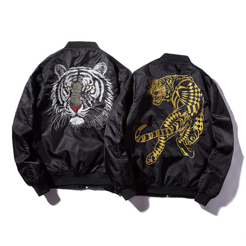 New Bomber Mens Jackets Embroidery Golden White tiger flight Jacket/Embroidered Print Padded Bomber Jacket