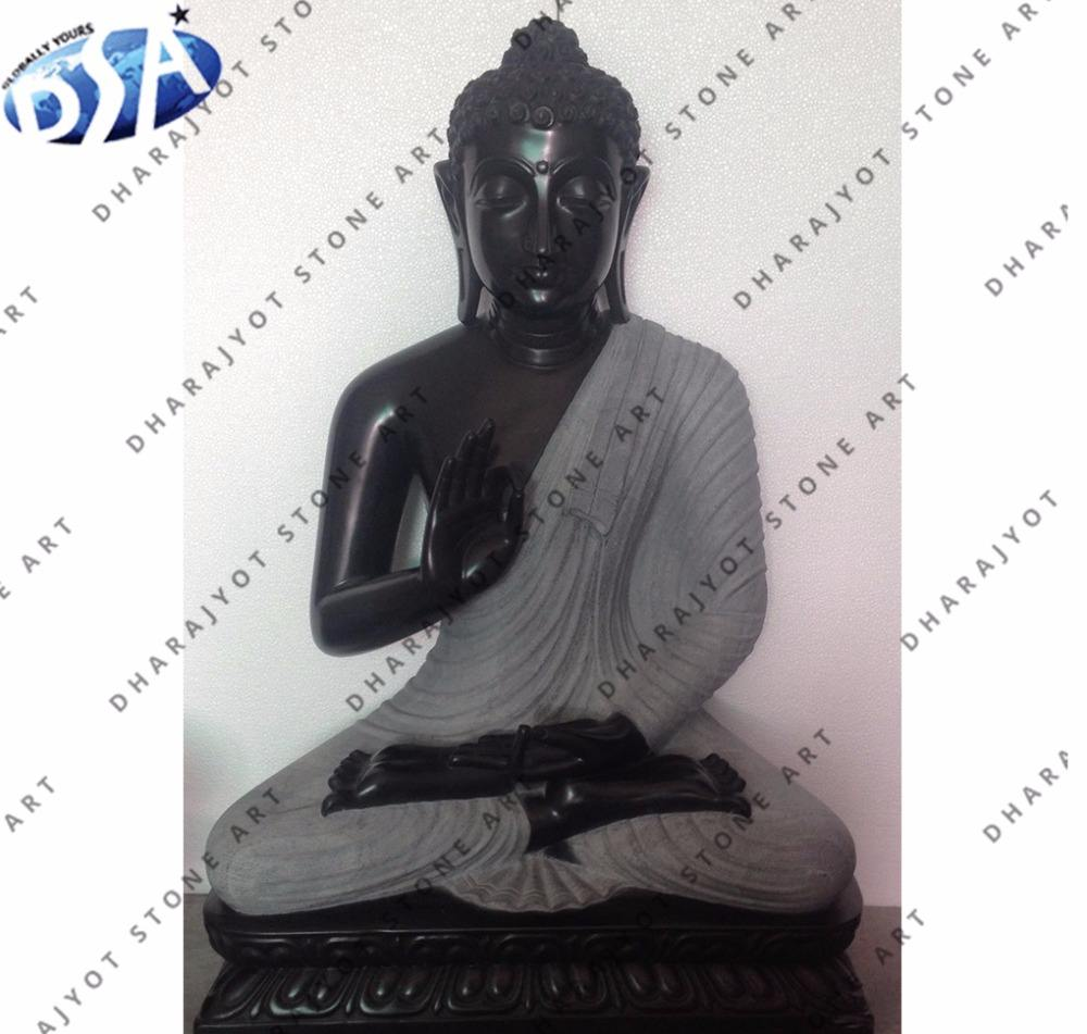 dark black marble buddha statue sculpture