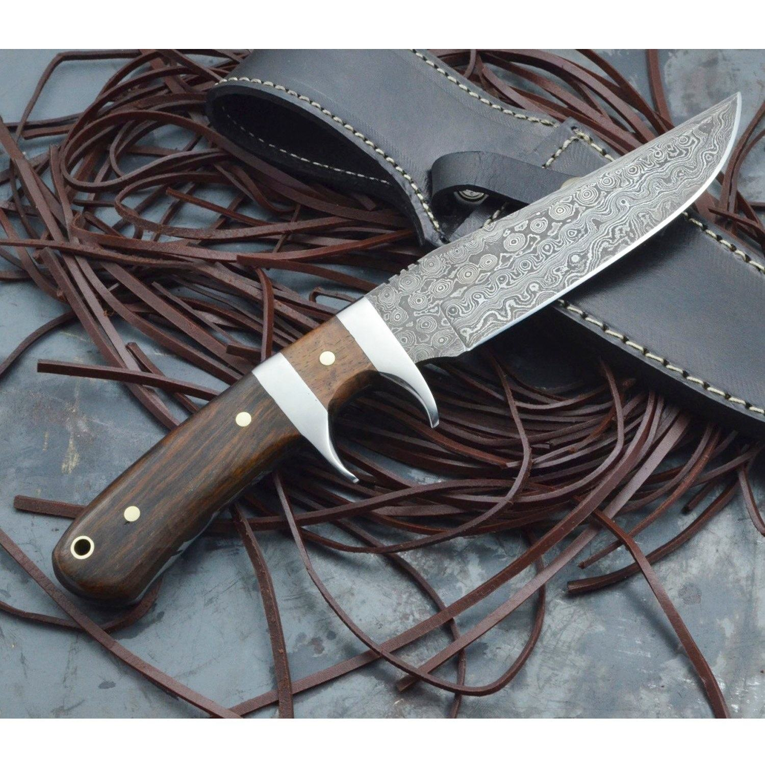 Damascus Knife Custom Handmade Damascus Hunting Knife in Walnut Wood and Steel Clips OAL 10 inches with Leather Sheath