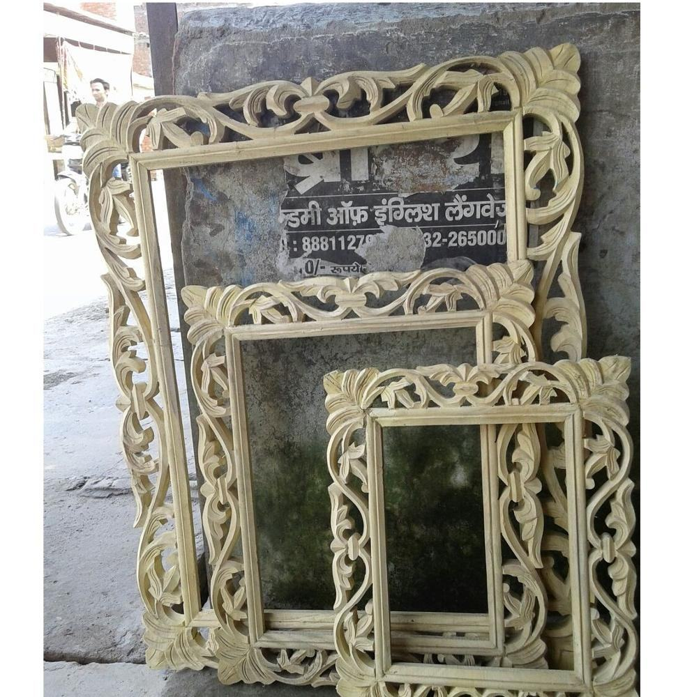 Unique Natural Hand Carved Wooden Mirror Frame