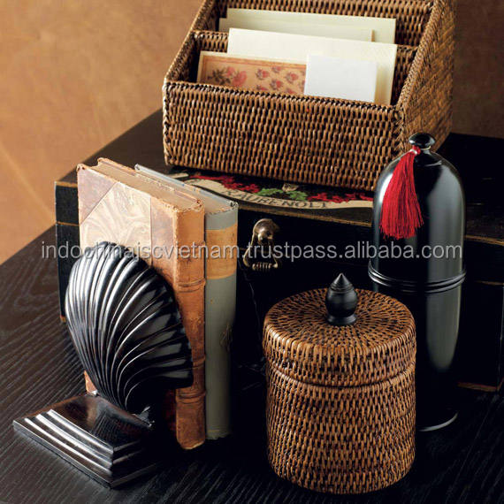 Natural eco-friendly rattan letter holder, desktop organizer