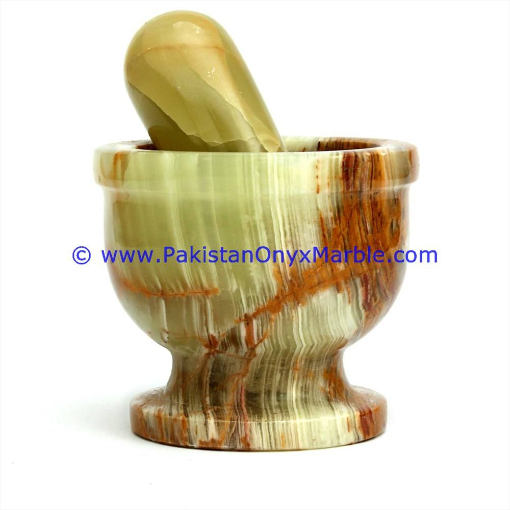 NATURAL STONE ONYX MORTAR AND PESTLE HANDICRAFTS