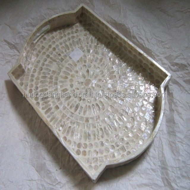 crafts, mosaic boys, rectangle, White, tray made in Vietnam.