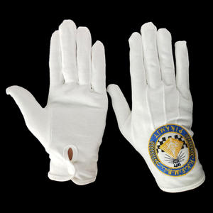 white church masonic cotton hand gloves with big round embroidered logo and button
