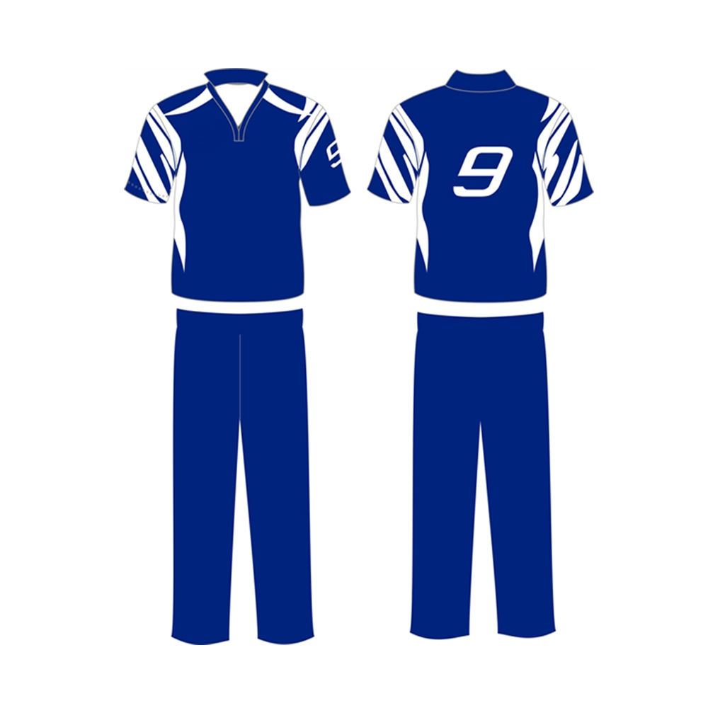 Plain Design Custom Team Name Printed High Quality Polyester Made Cricket Uniform