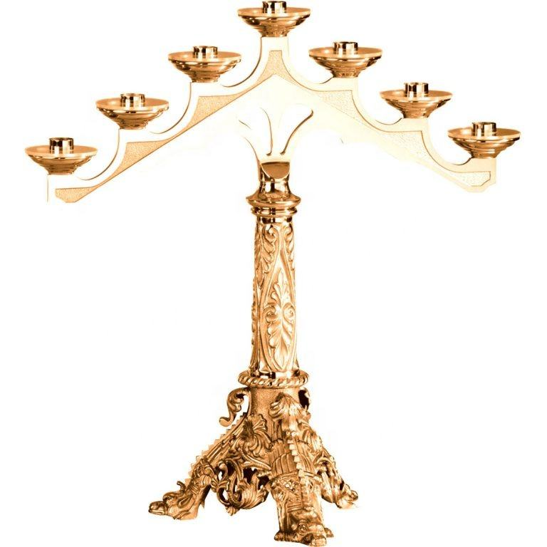 "36"" Inch Brass Gold High Quality 7 Candle Holder Menorah"