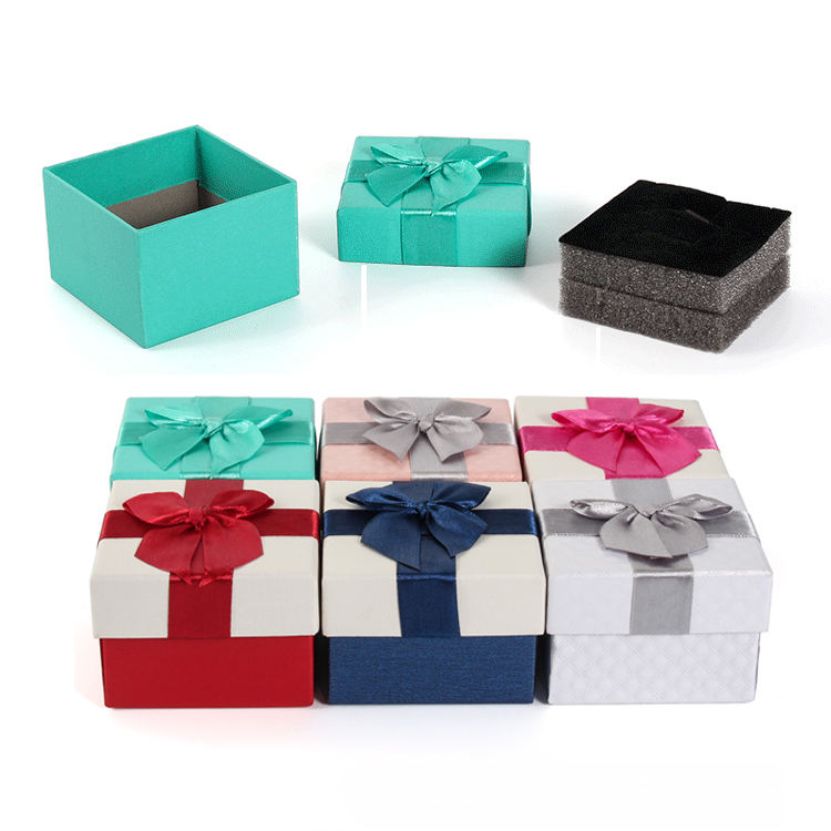 TA MINGREN Cheap Wholesale Paper Ribbon Bow Gift Jewelry Packaging Cajas Joyas Carton Con Liston with Foam