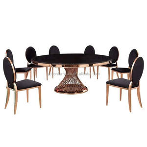 Cheap modern luxury royal large round dining room furniture stainless steel dining table and chairs set design
