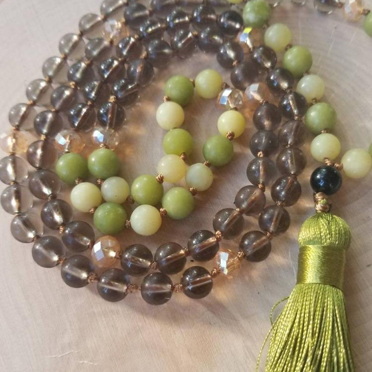 Serpentine and Smoky Quartz Meditation Mala/Long Necklace