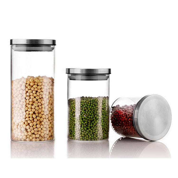 Eco-friendly bamboo lid home storage glass jar canister set manufacturer