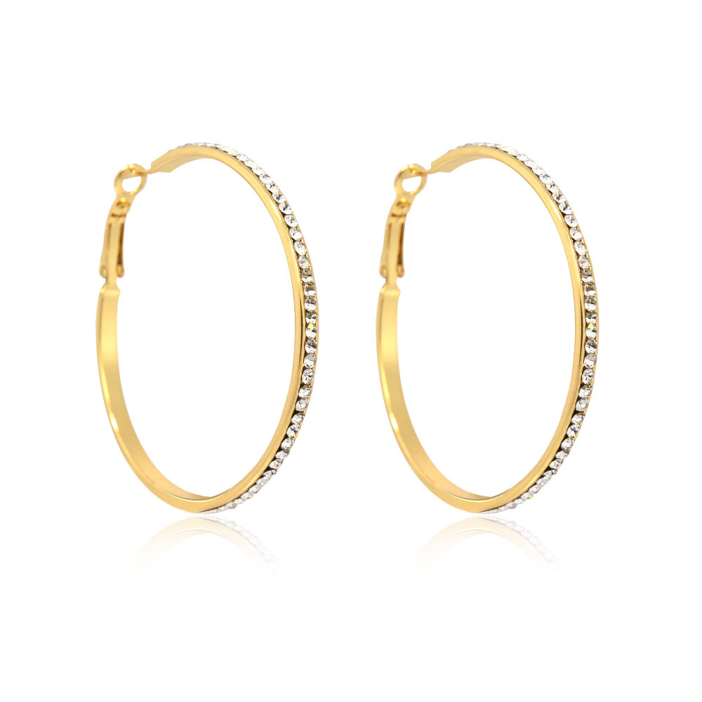 Wholesale Endless Jewelry Big Large Oversized White Czech Crystal Gold Hoop Earrings