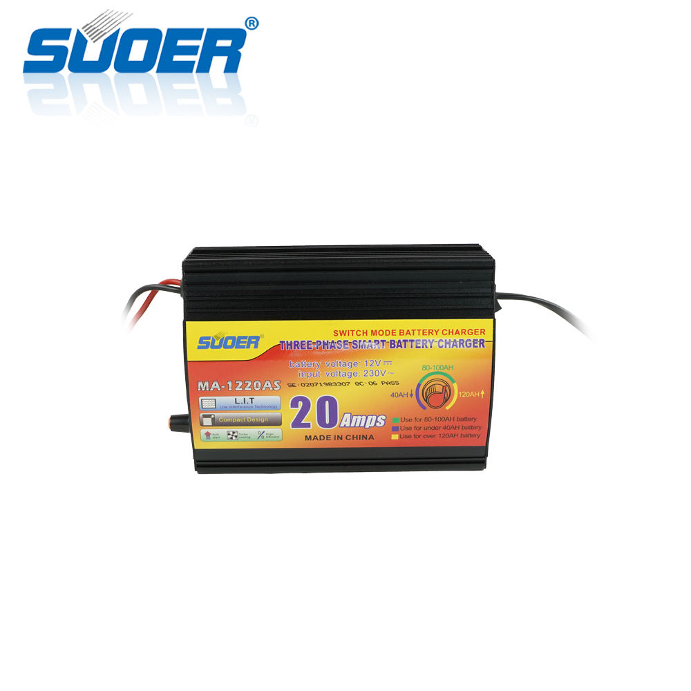 Suoer 12V 20A Intelligent Lead Acid Charging Auto Solar Car Battery Charger