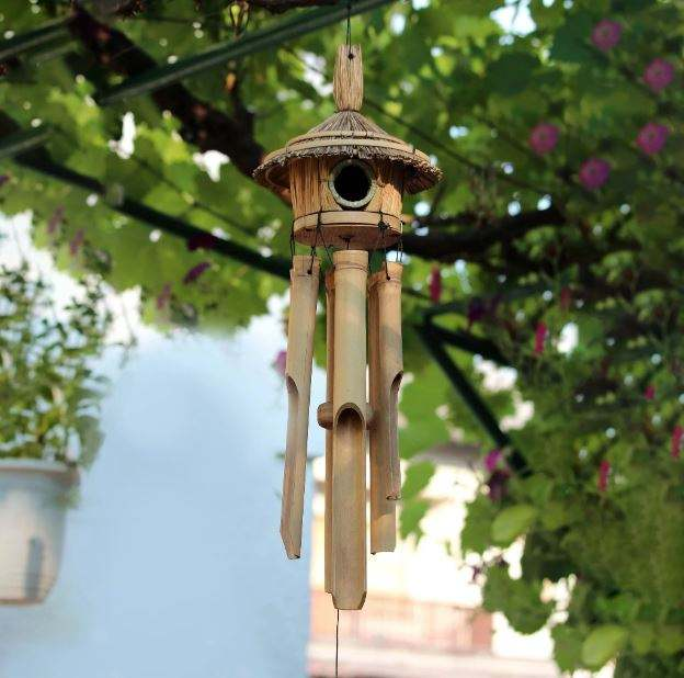 Bless International Handmade Wind Chime Bamboo Wooden Birdhouse Wind Chimes for Outdoor & Indoor,Garden, Wall and Home Decor