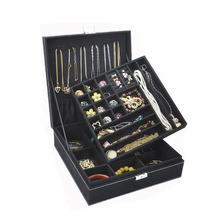 black Fashion flannel square jewelry box simple layout 2 layer makeup storage ring necklace storage box