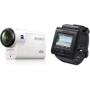 Sony FDR-X3000 Action Camera White with Live-View Remote and AKA-FGP1 Finger Grip