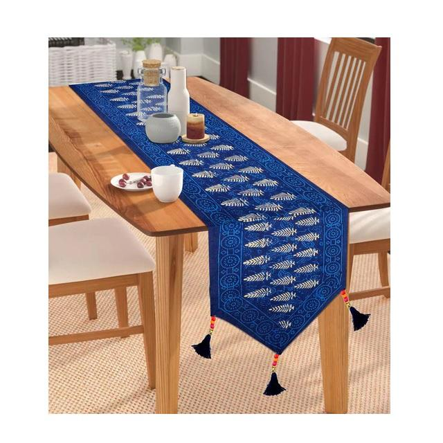 Ethnic jaipuri royal blue color table runner
