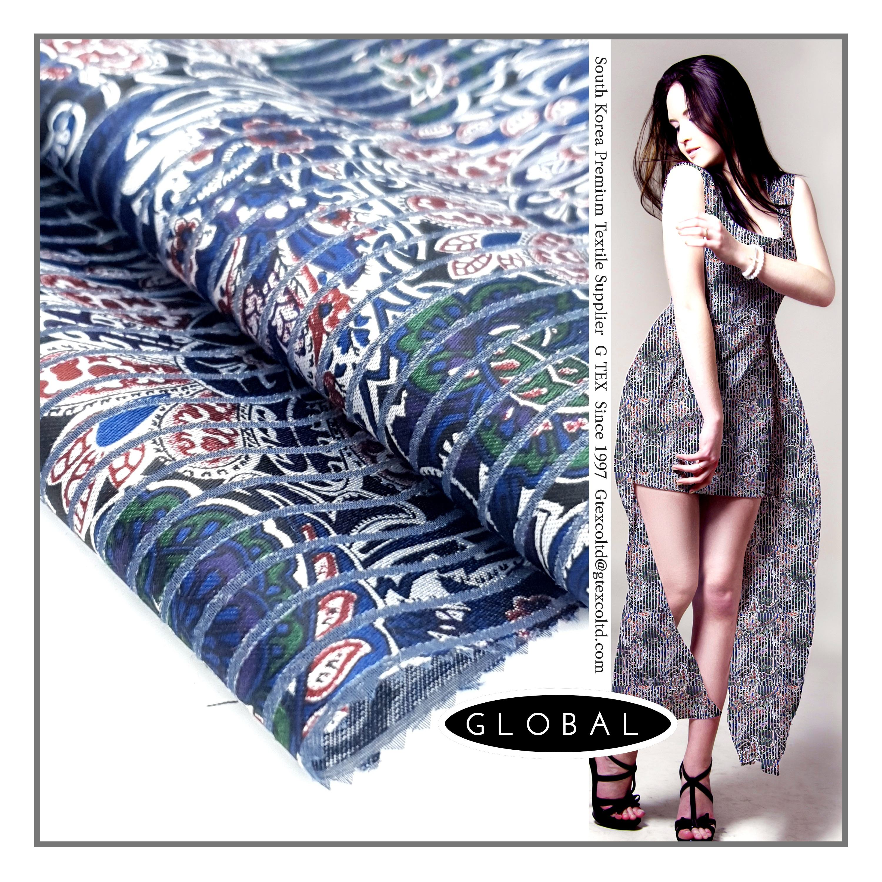 South Korea Textile POLY 65% RAYON 35% BURNOUT PRINT Fabric