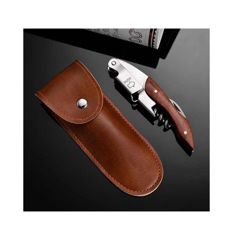 2020 portable kitchen leather wine bottle opener folding knife case accessories Christmas gift