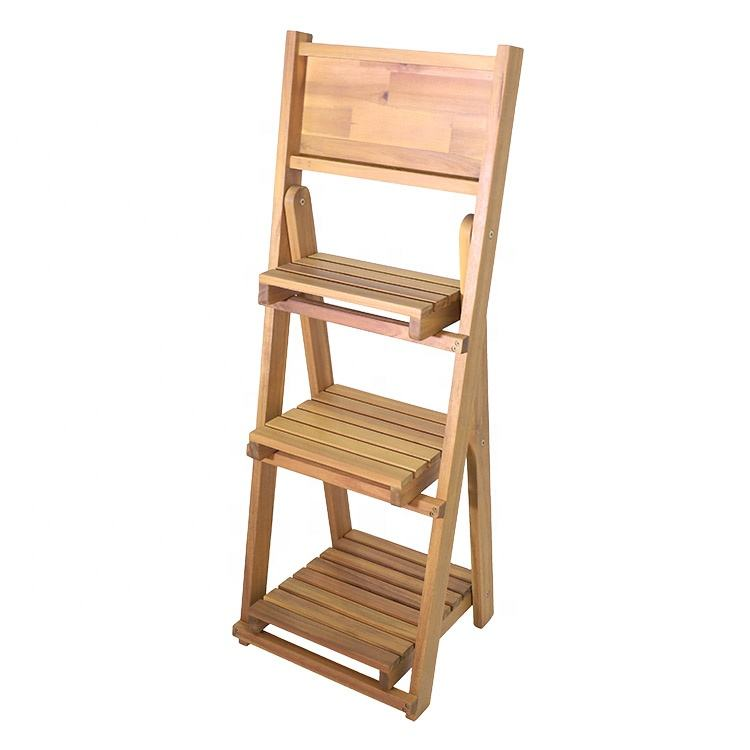 Indoor and outdoor cheap flower pots in bulk, folding acacia wood plant stand