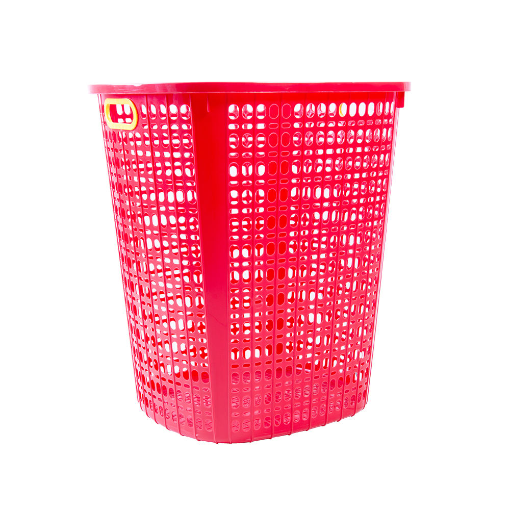 Malaysia Made Big Square Plastic Laundry Basket Red