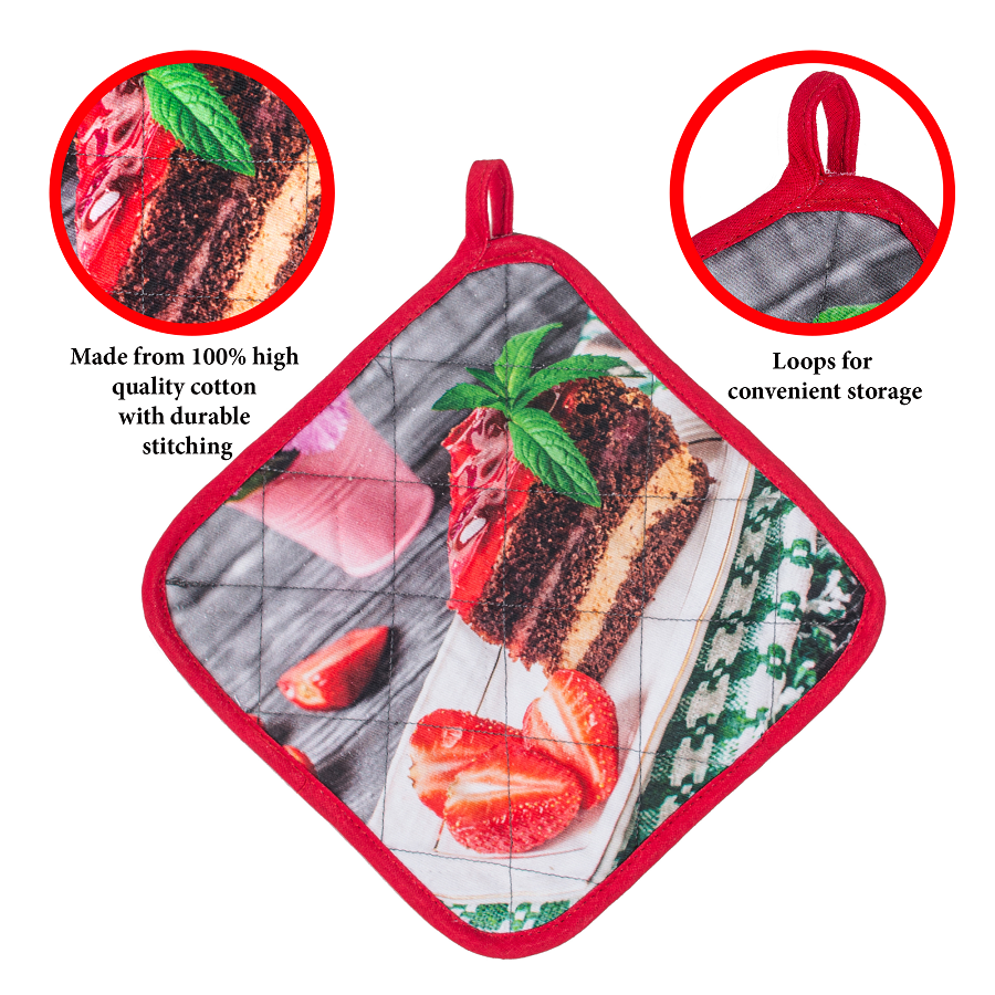 Customized oven potholders, bright print, heat protection. gloves for kitchen