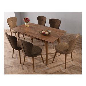 Extendable Wooden Leg Dining Table Sets 6 Chairs Dining Room Sets