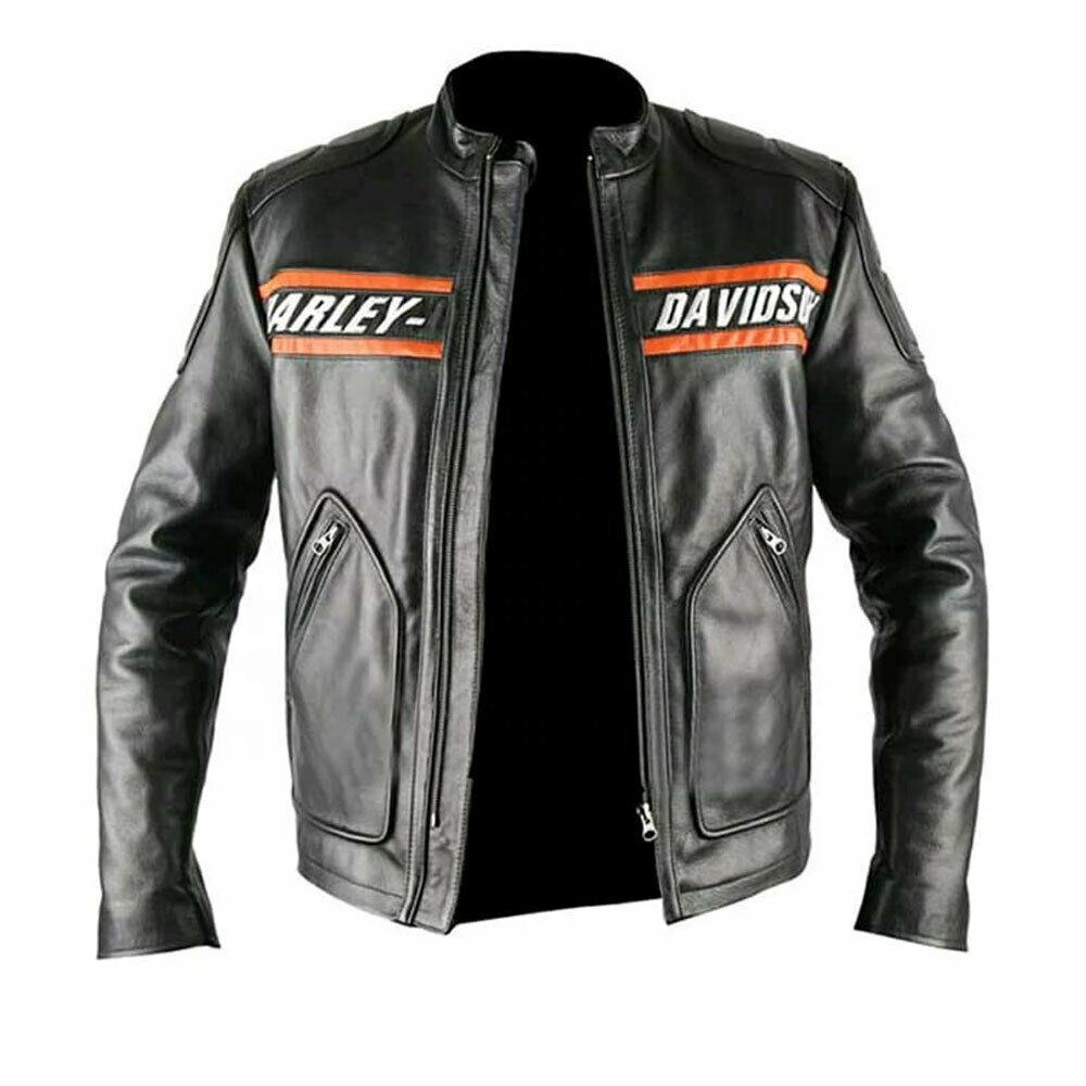 HARLEY DAVIDSON 2020 Original Cowhide Aniline Leather Motorcycle Cruiser Style Fashion Jacket 100% Original 2021 Leather Jacket